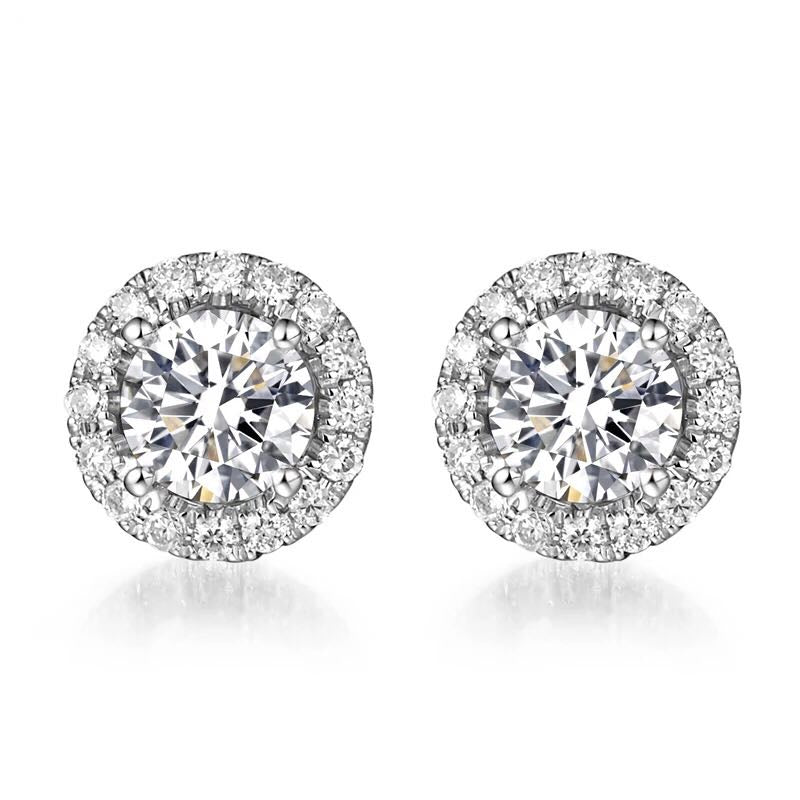 1 Carat Halo Moissanite Earrings 18K White Gold - LeCaine Gems