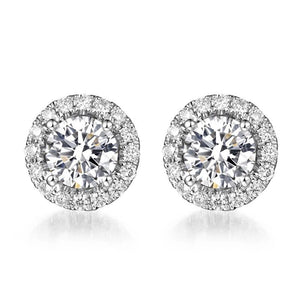 Halo Moissanite Earrings 18K White Gold - Lecaine Gems Moissanite