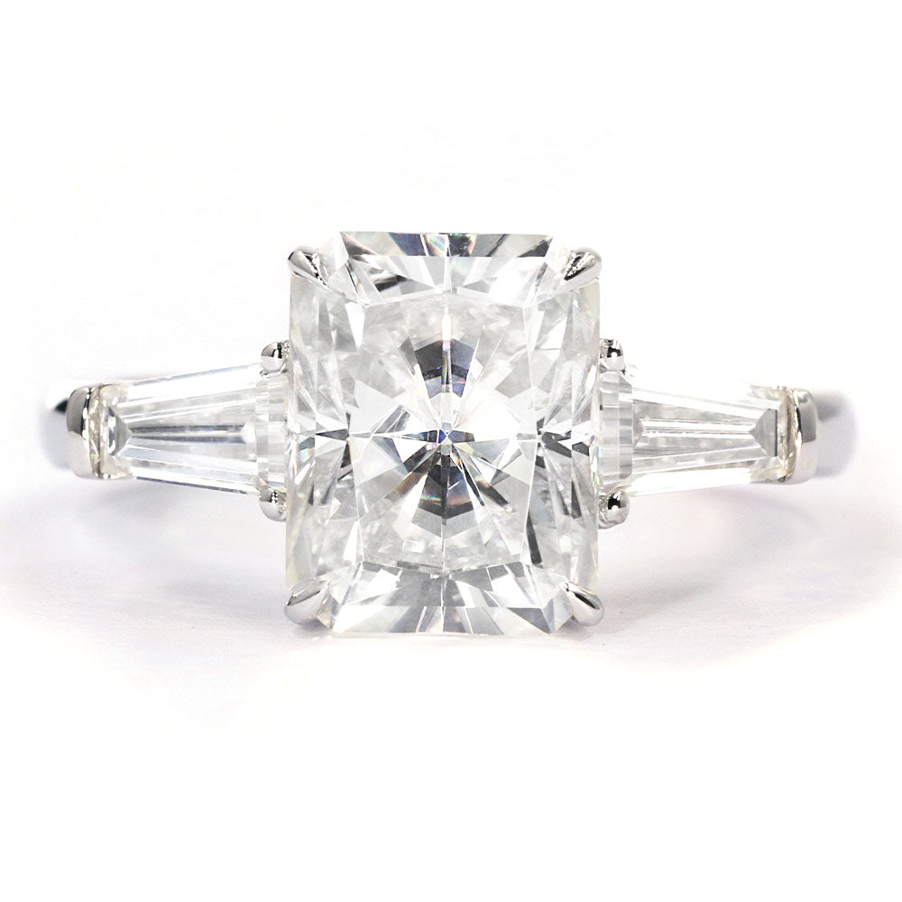 Adriana Radiant Cut 3 Stone Moissanite Ring - Lecaine Gems Moissanite