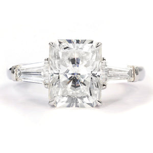 Adriana Radiant Cut 3 Stone Moissanite Ring - LeCaine Gems