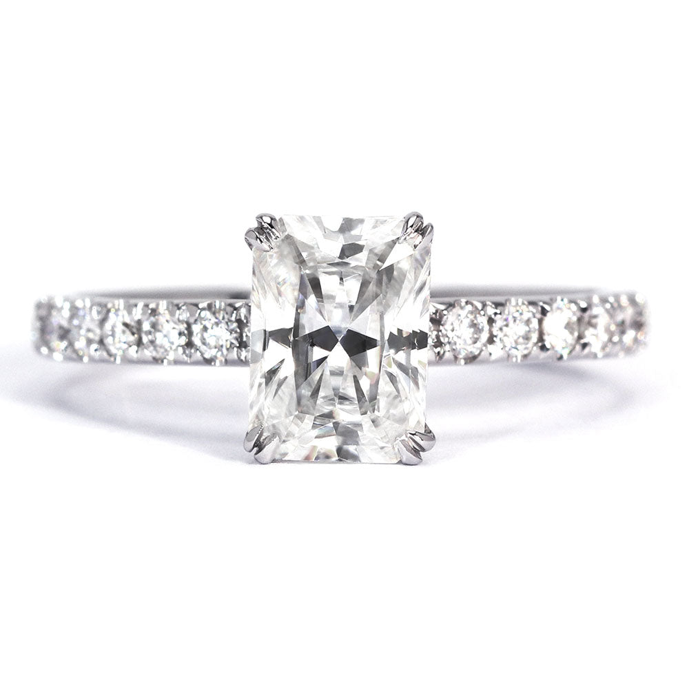 Celestia Radiant Cut Moissanite Hidden Halo Ring - Lecaine Gems Moissanite