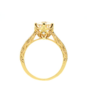 NIKOLA Moissanite in Art-Carved Vintage 18K Yellow Gold Ring - LeCaine Gems