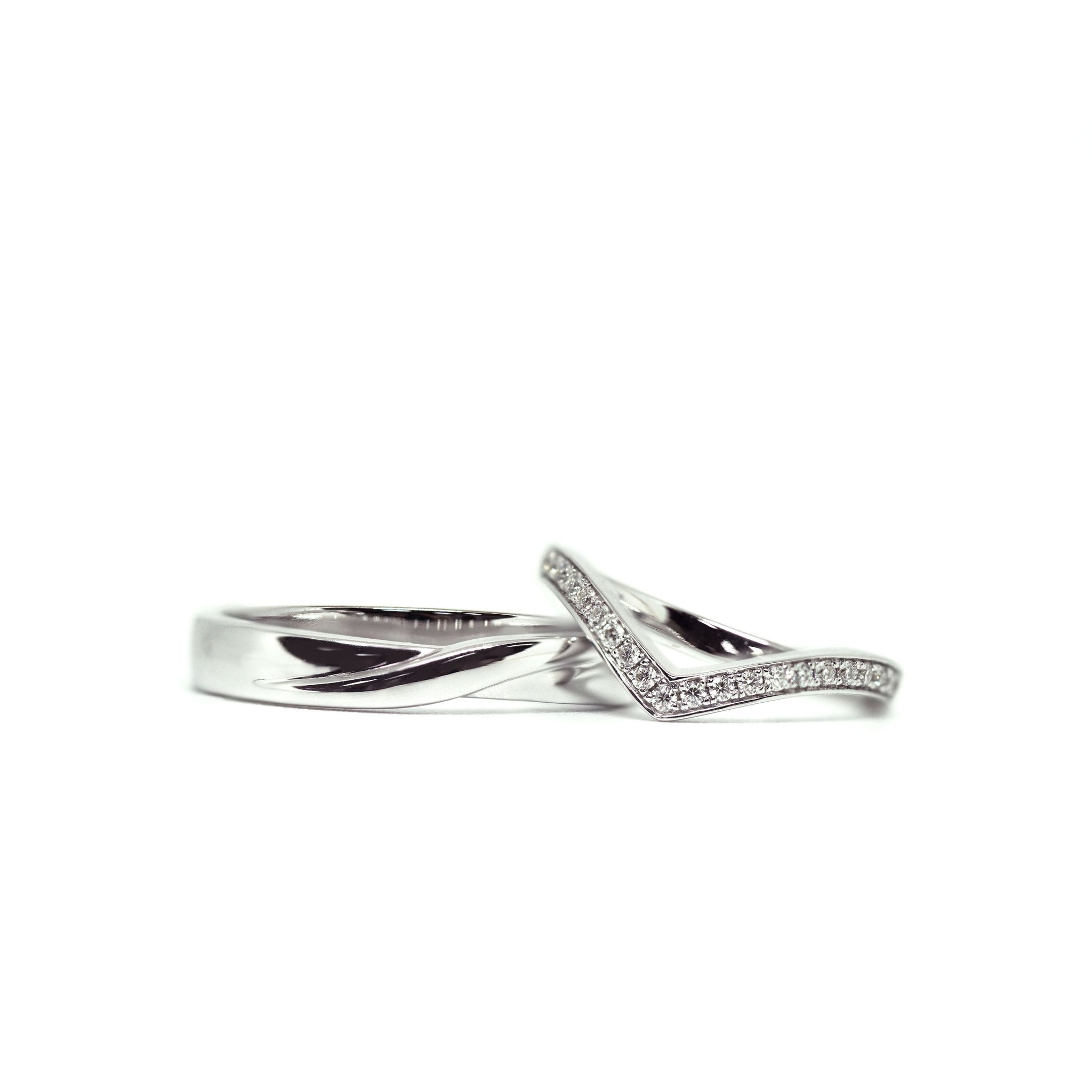 Kaylee 18K White Gold Wedding Bands with Infinity Design and V Shape Stacking Ring - LeCaine Gems