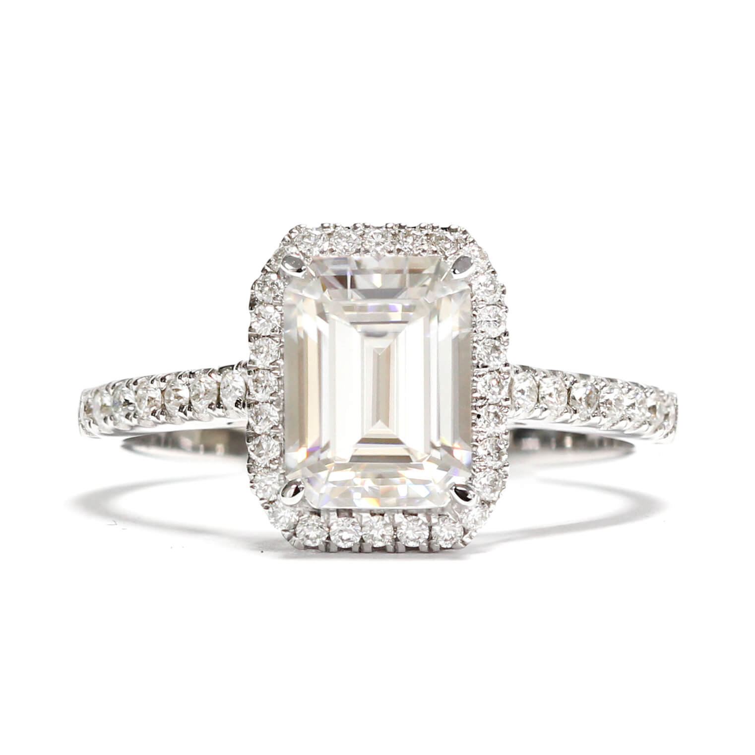 Ready-Made | Ella 2 Carat Emerald Cut Moissanite with Halo in 18K White Gold | Sizes HK 12-16 - LeCaine Gems