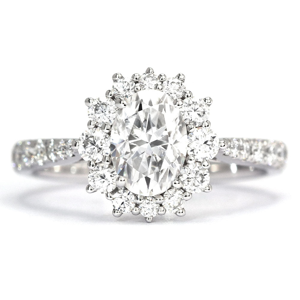 Farrah Oval Antique Halo Ring - Lecaine Gems Moissanite