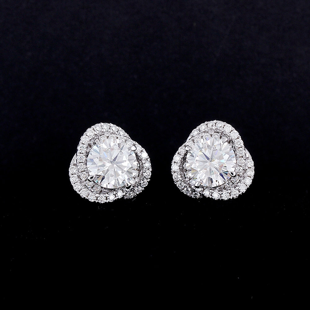 1 Carat Halo Flow Moissanite Earrings