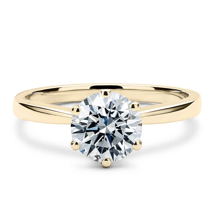 3 Carat Moissanite Solitaire 6 Prong 18K Yellow Gold