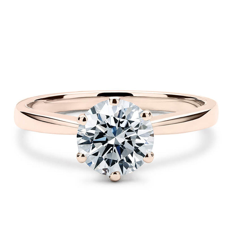 Round Moissanite Solitaire 6 Prong 18K Rose Gold - LeCaine Gems