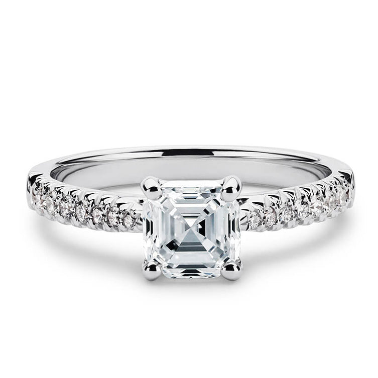 2 Carat Asscher Moissanite Accent Ring 18K White Gold