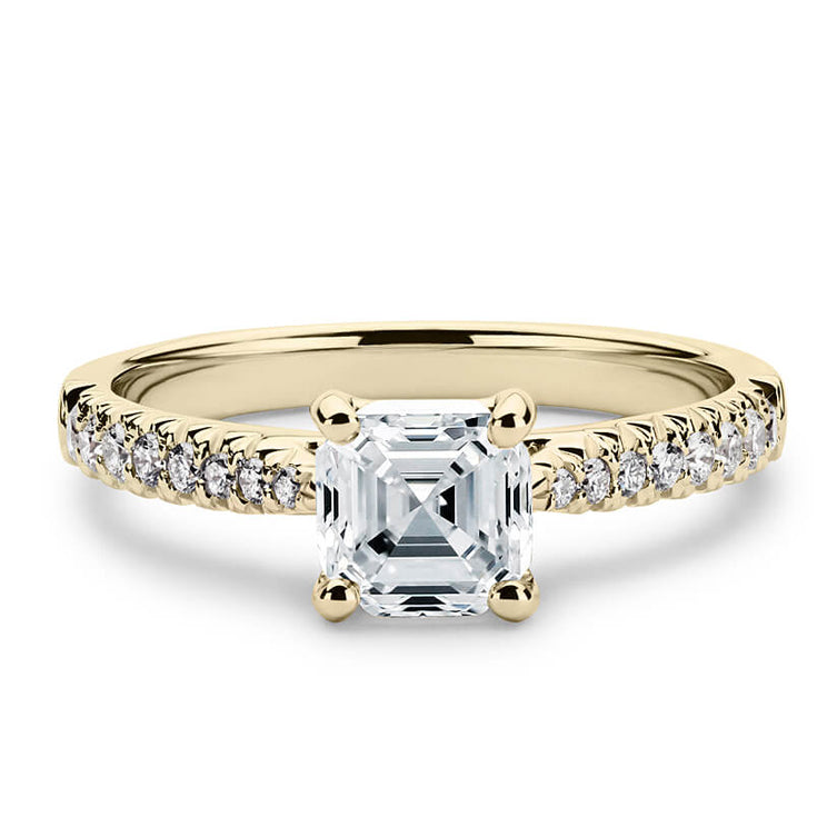 2 Carat Asscher Moissanite Accent Ring 18K Yellow Gold