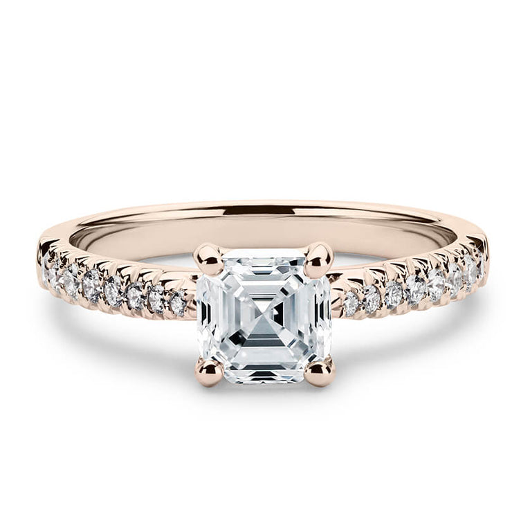 2 Carat Asscher Moissanite Accent Ring 18K Rose Gold - LeCaine Gems