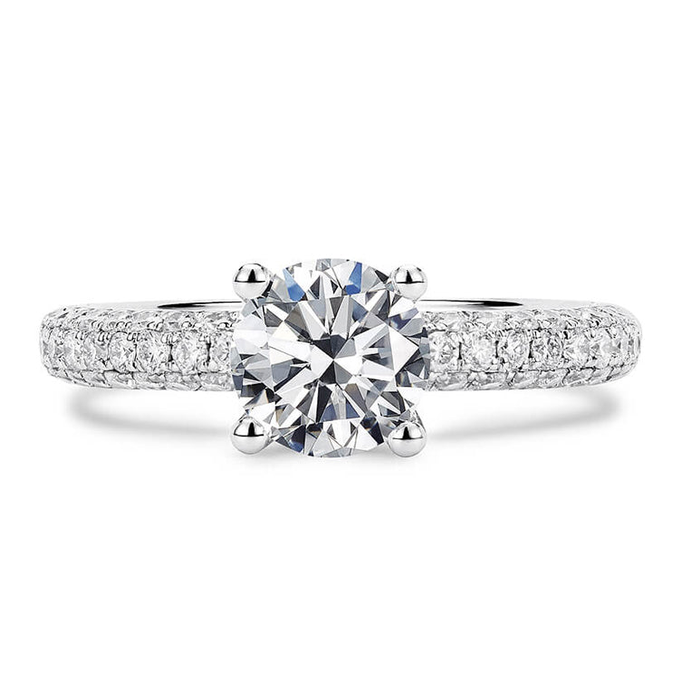 1 Carat Crown Setting with Crushed Moissanite Diamonds 18K White Gold Ring - Moissanite Lecaine