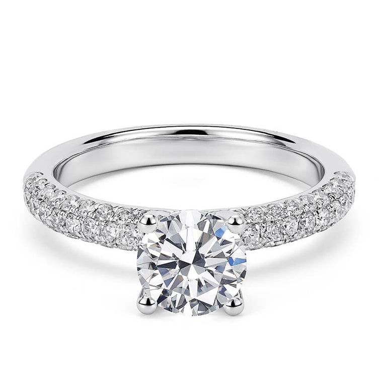 1 Carat Crown Setting with Crushed Moissanite Diamonds 18K White Gold