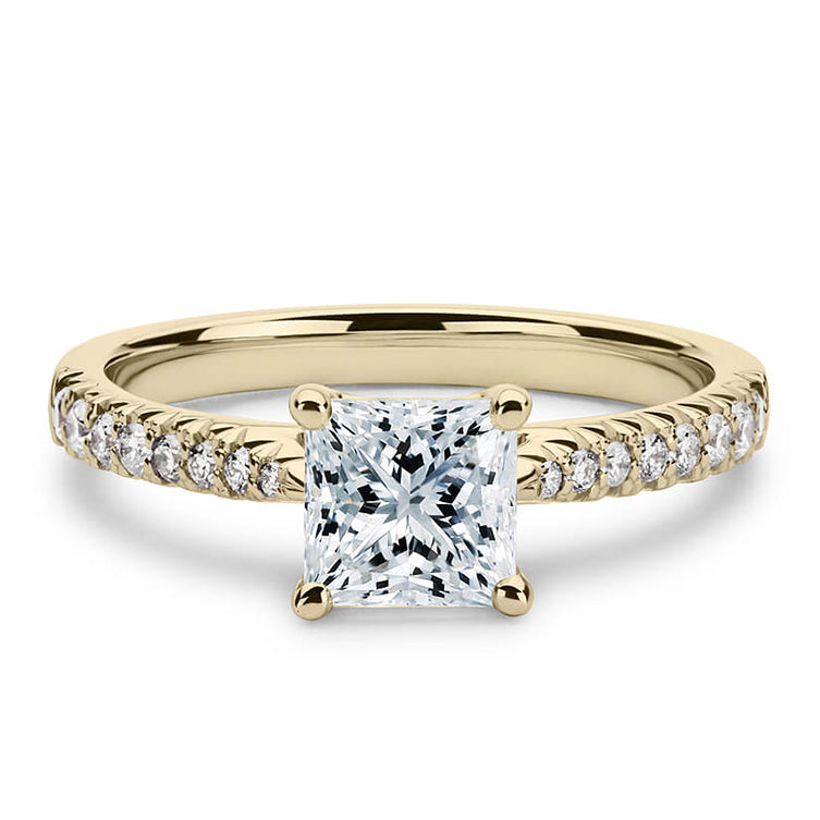 2 Carat Princess Moissanite Ring with Accent 18K Yellow Gold