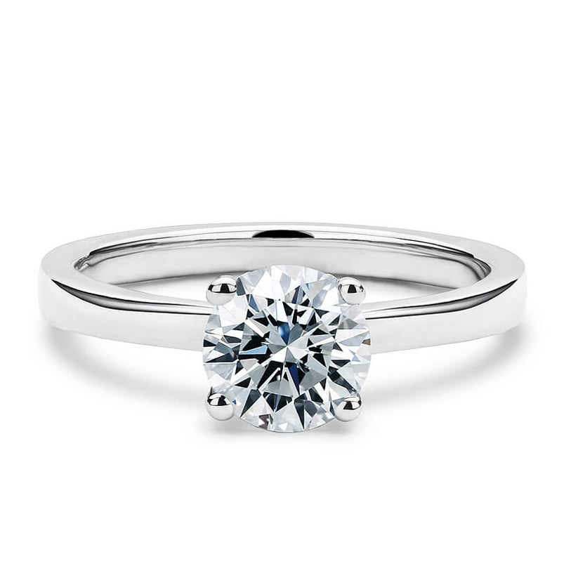 2 Carat Solitaire 18K White Gold Round Band