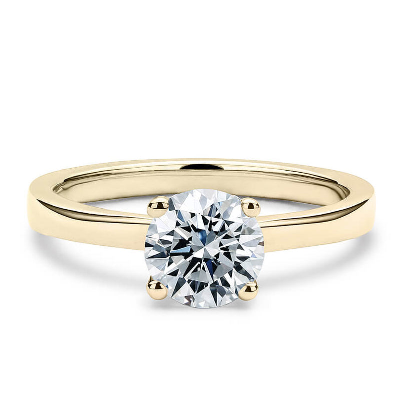 2 Carat Solitaire 18K Yellow Gold Round Band