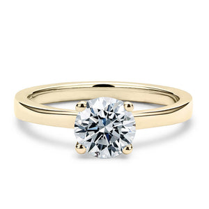 2 Carat Solitaire 18K Yellow Gold Round Band - Lecaine Gems Moissanite