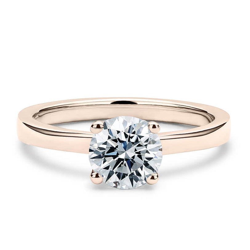 2 Carat Solitaire 18K Rose Gold Round Band
