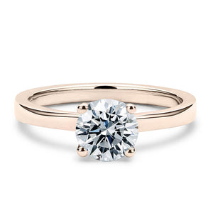 2 Carat Solitaire 18K Rose Gold Round Band - LeCaine Gems