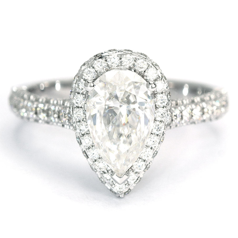 Grace Pear Moissanite Halo Ring - LeCaine Gems