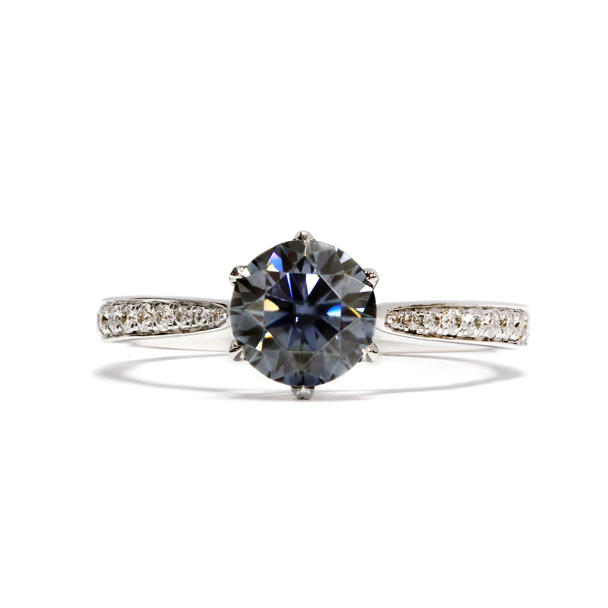 1 Carat Round Grey Moissanite Accent Ring