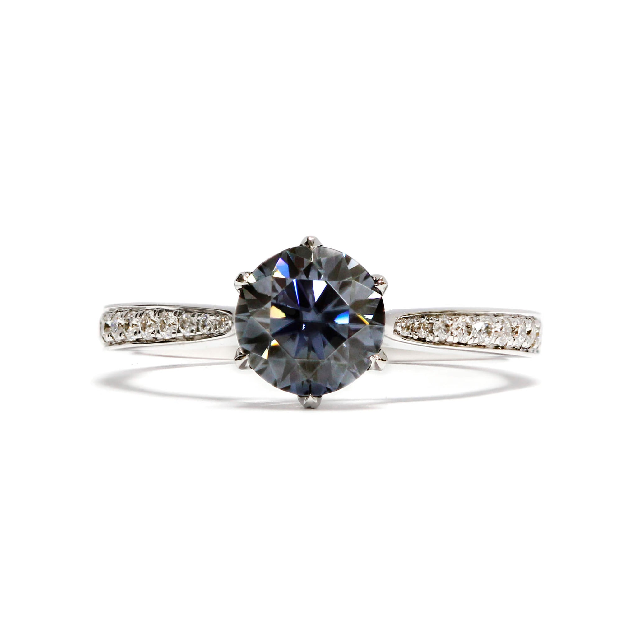 Ready Made | Round Grey Moissanite Accent Ring - Lecaine Gems Moissanite