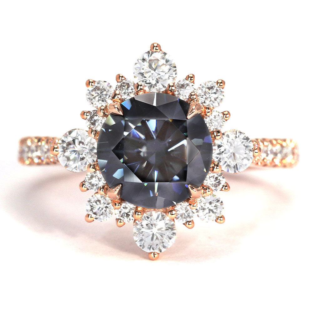 Earl Grey Vintage Halo Grey Moissanite Ring - LeCaine Gems