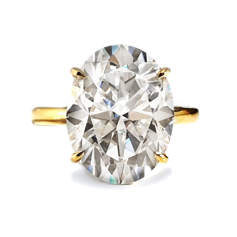 Hailey Double Hidden Halo Oval Moissanite Ring - LeCaine Gems