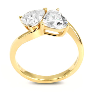 Double Heart Moissanite Solitaire 18K Gold Ring - Lecaine Gems Moissanite