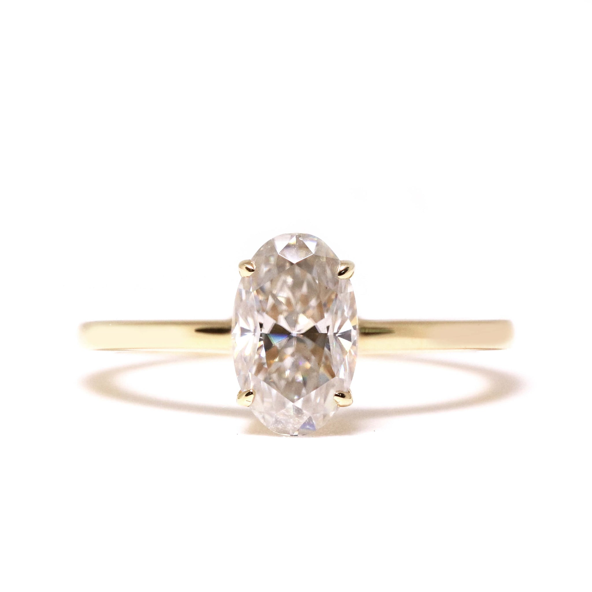 1 Carat Oval Moissanite Ring in 18K Yellow Gold Ring