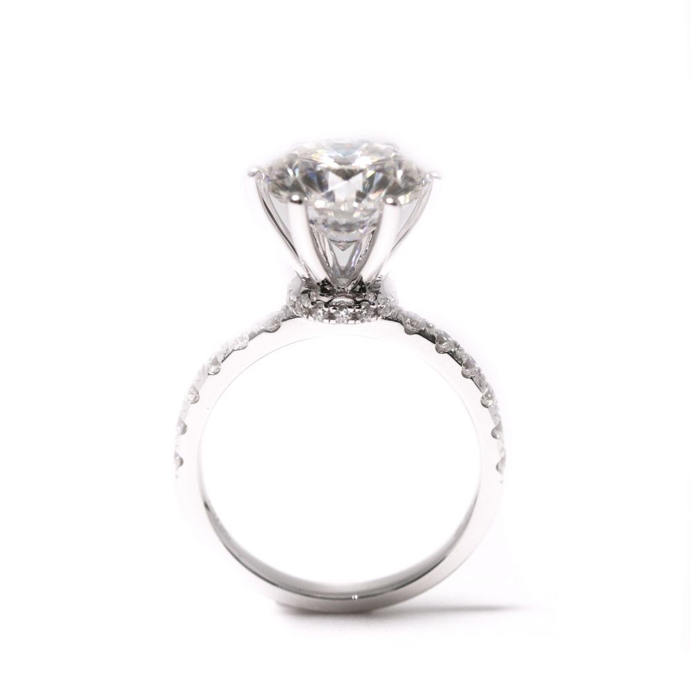4 Carat Moissanite Ring with Accent 18K White Gold