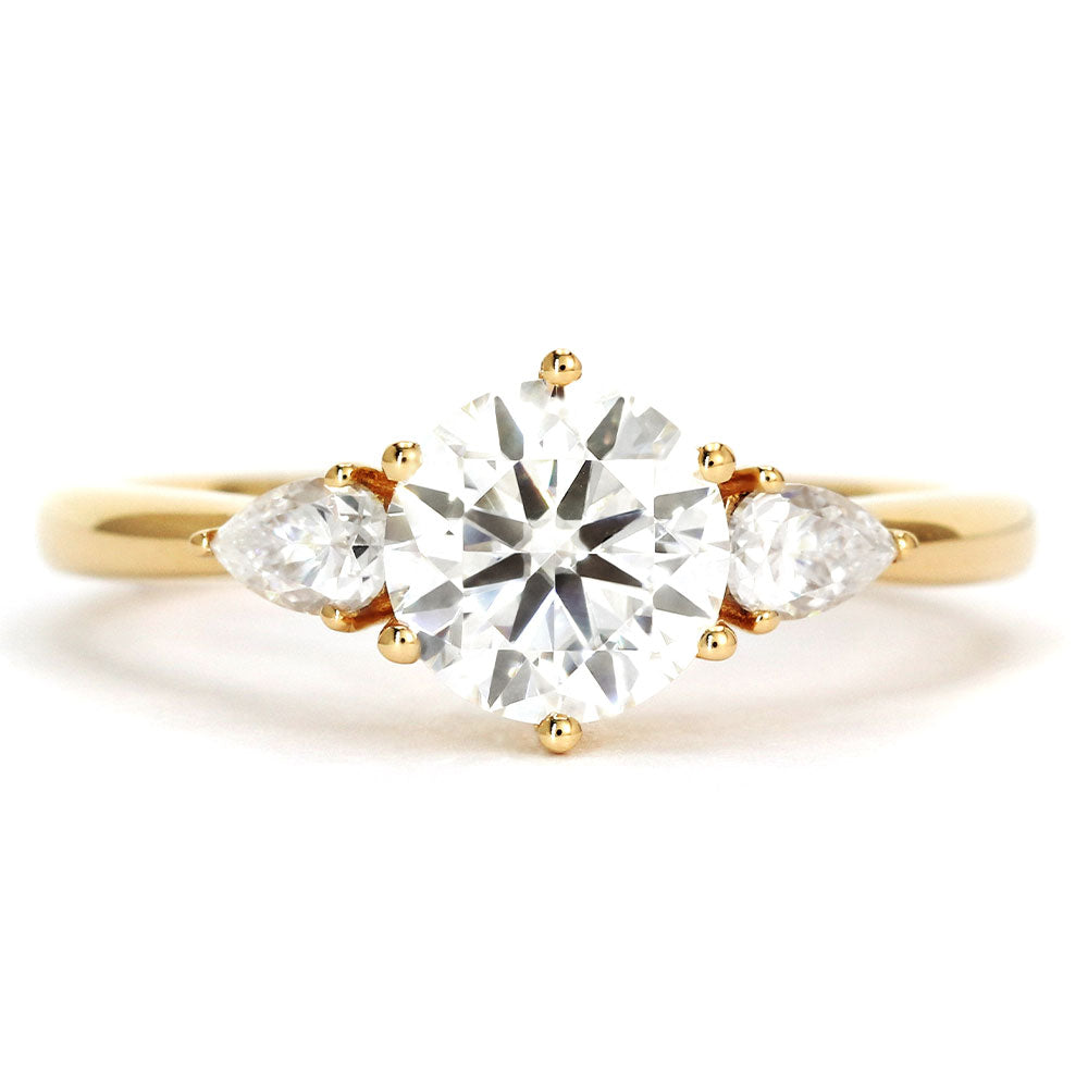 Ready Made | Charlize 1 Carat Trilogy Engagement Ring Moissanite 18K Yellow Gold - LeCaine Gems