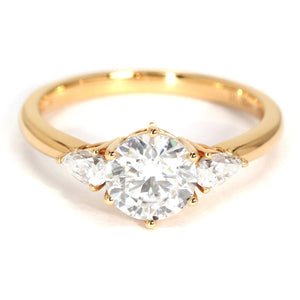 Charlize Trilogy Engagement Ring Moissanite 18K Yellow Gold - LeCaine Gems