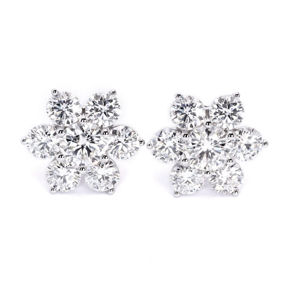 7 Stone Moissanite Floral Earrings - LeCaine Gems