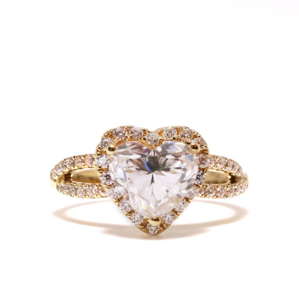 Heart Shape Moissanite with Accent Halo 18K Yellow Gold Ring - Lecaine Gems Moissanite