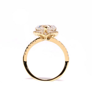 1.5 Carat Heart Shaped Moissanite with Accent Halo 18K Yellow Gold Ring - LeCaine Gems