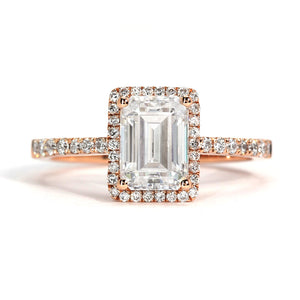 Ready Made | Mandy Emerald Cut Moissanite with Halo - LeCaine Gems