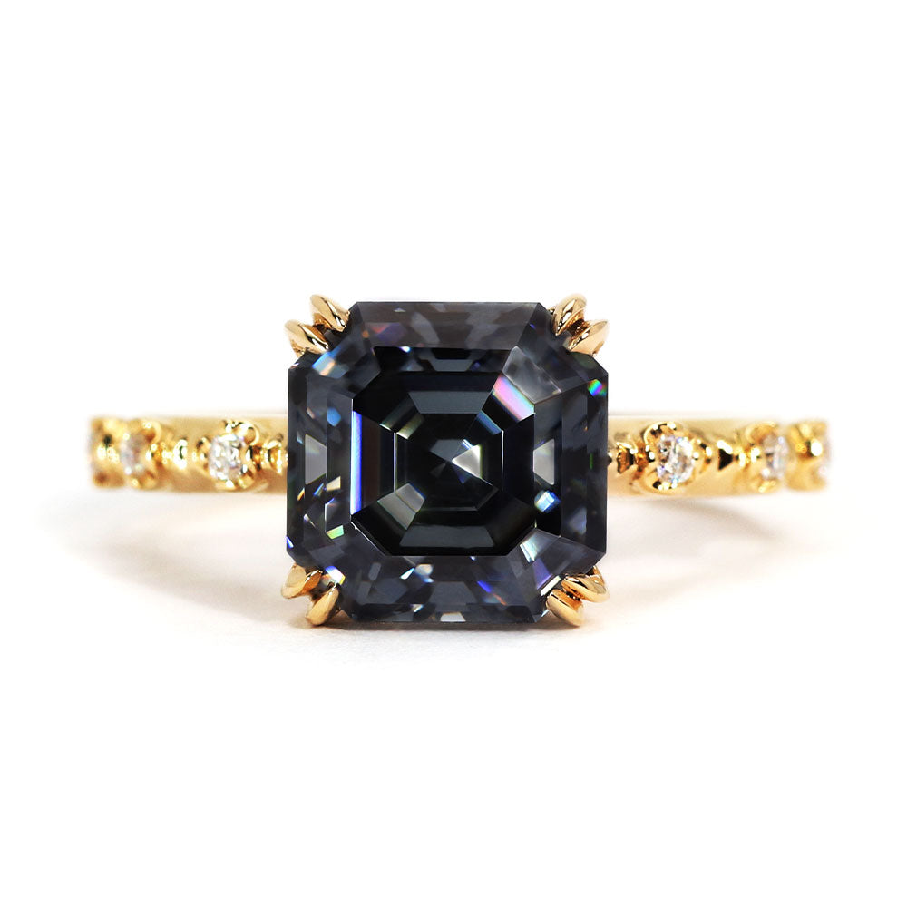 Diana Dark Blue Grey Asscher Cut Moissanite - Lecaine Gems Moissanite