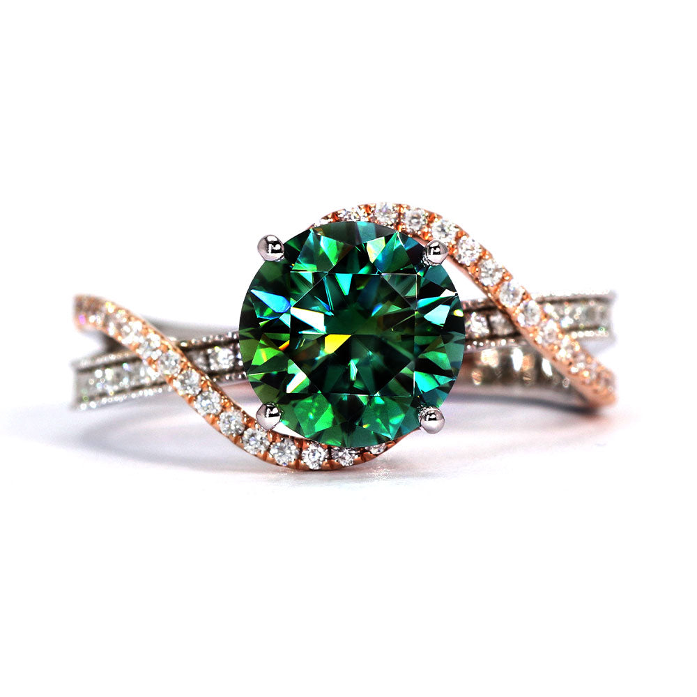 Gennie Dark Green Moissanite with Side Stones Duo Tone 18K Gold Ring - LeCaine Gems
