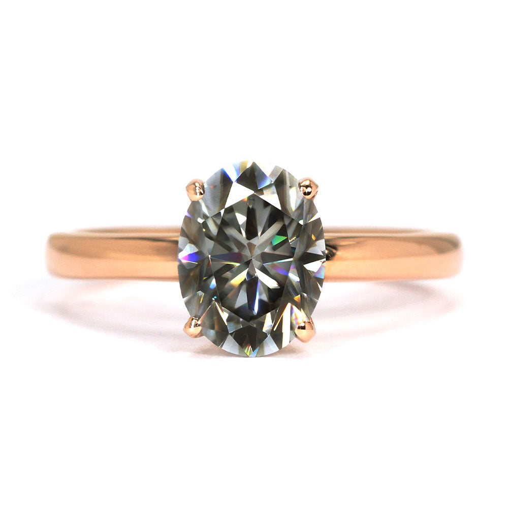 Patience Grey Oval Moissanite Solitaire 18K Rose Gold Ring - Lecaine Gems Moissanite