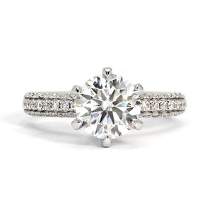 Elizabeth Classic Crown Bridge Moissanite Ring - Lecaine Gems Moissanite