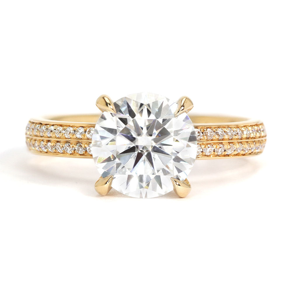 Melissa Moissanite 18K Yellow Gold Double Shank Accent Ring - LeCaine Gems