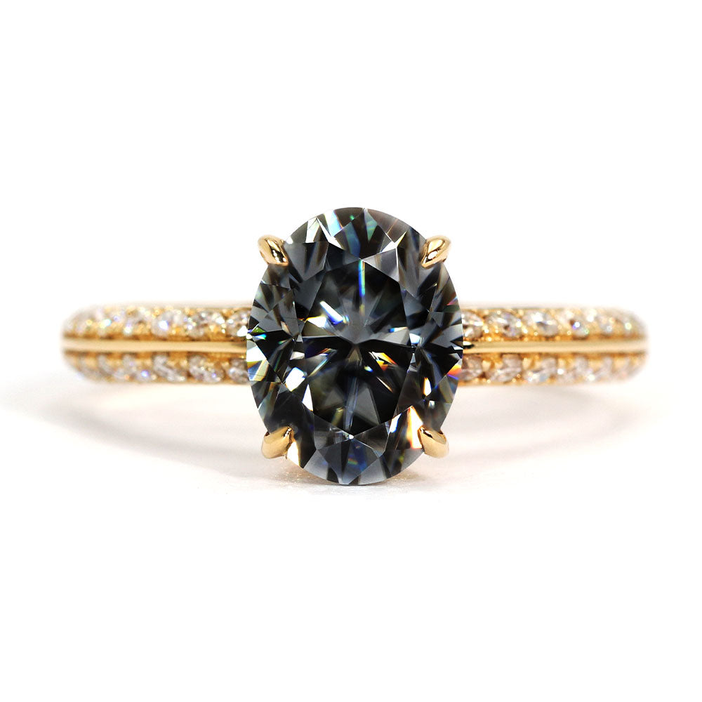 Ready Made | Olivia Grey Oval 2 Carat Moissanite Full Pave 18K Yellow Gold Ring - LeCaine Gems