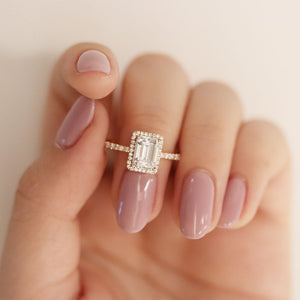 Mandy Emerald Cut Moissanite with Halo - LeCaine Gems