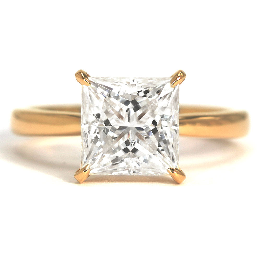 Beatrice Princess Cut Moissanite Solitaire Gold Ring - Lecaine Gems Moissanite