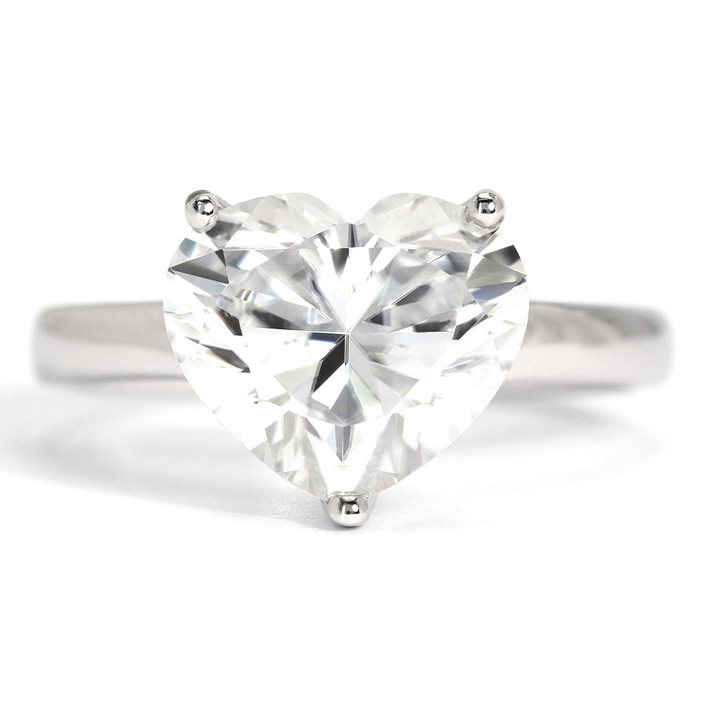 Celine Heart Moissanite Solitaire 18K Gold Ring - LeCaine Gems