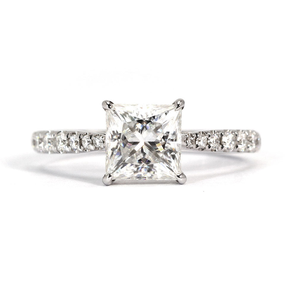 Princess Cut Moissanite Accent Ring 18K White Gold - LeCaine Gems