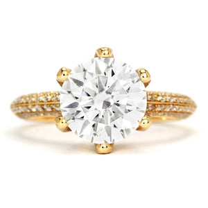 Queen Myka Moissanite Knife-Edge Pave Yellow Gold Ring - Lecaine Gems Moissanite