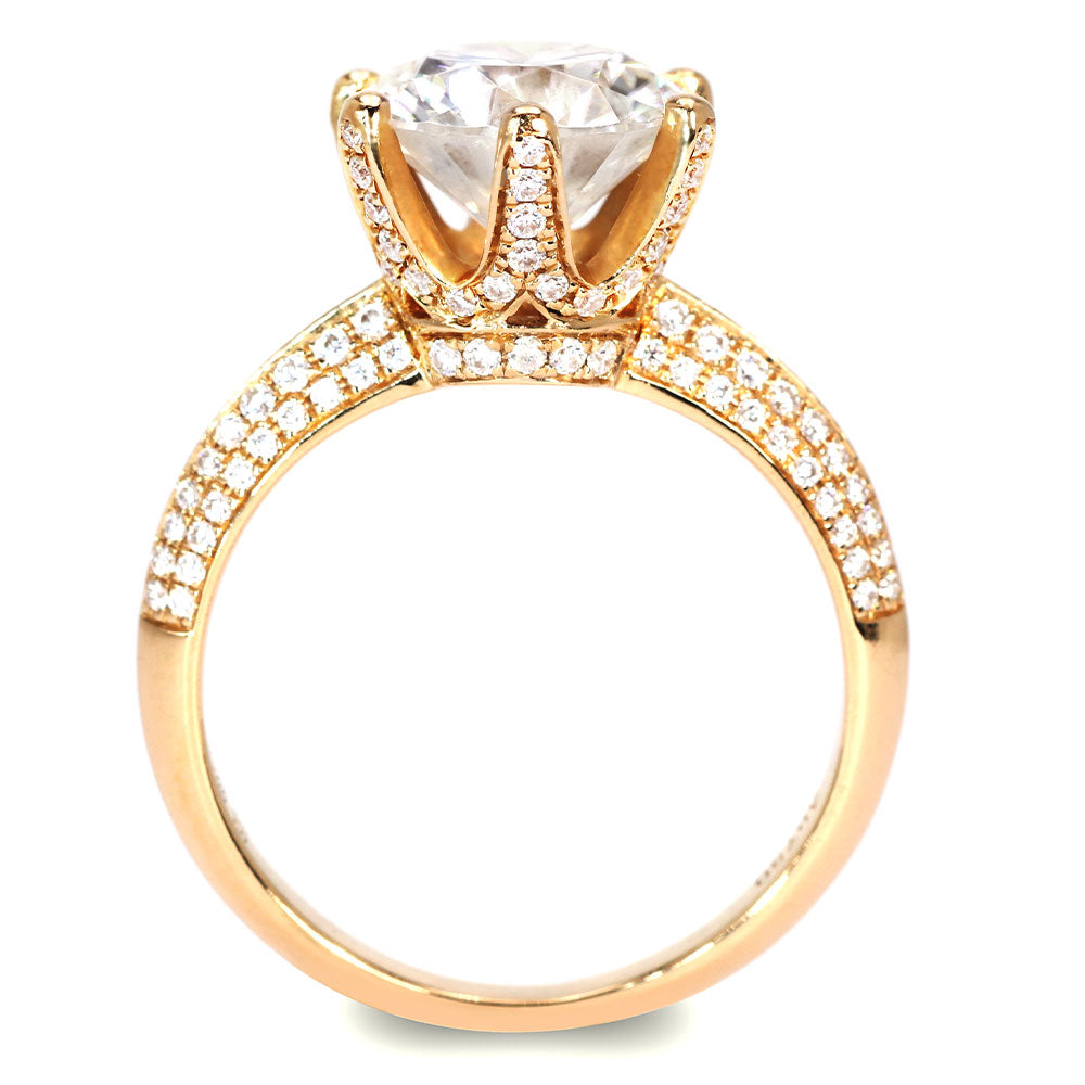 Queen Myka Moissanite Knife-Edge Pave Yellow Gold Ring - LeCaine Gems