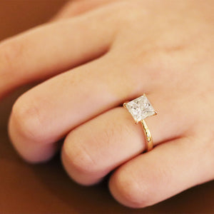 Beatrice Princess Cut Moissanite Solitaire Gold Ring - LeCaine Gems